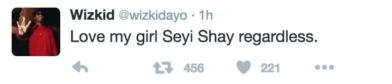 Wizkid Seyi Shay tweet