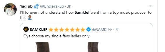 Samklef is dragged on Twitter