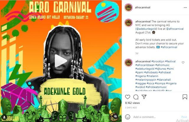 Adekunle Gold Billed to Headline Afro Carnival 2021 in New York