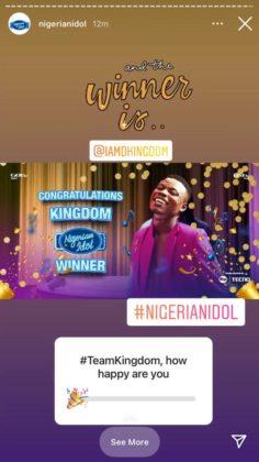 Kingdom Is Named Winner of Nigerian Idol Season 6! | NotjustOK