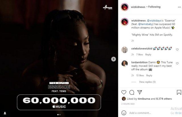 Wizkid Essence Hits 60 Million Streams on Apple Music NotjustOK