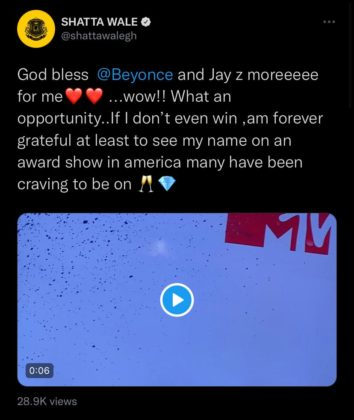 Shatta Wale Expresses Appreciation Following MTV VMA Nomination NotjustOK