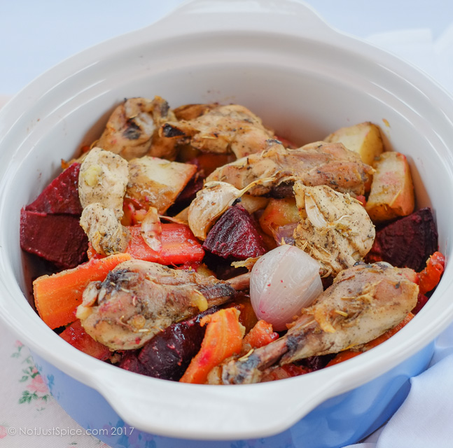 Roast Chicken with Root Vegetables on notjustspice.com