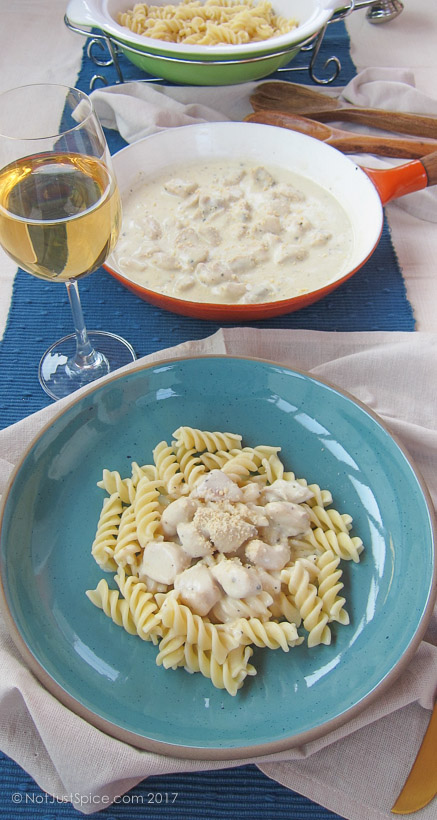 White Sauce Chicken Pasta | Fusilli with White Sauce and Chicken on notjustspice.com