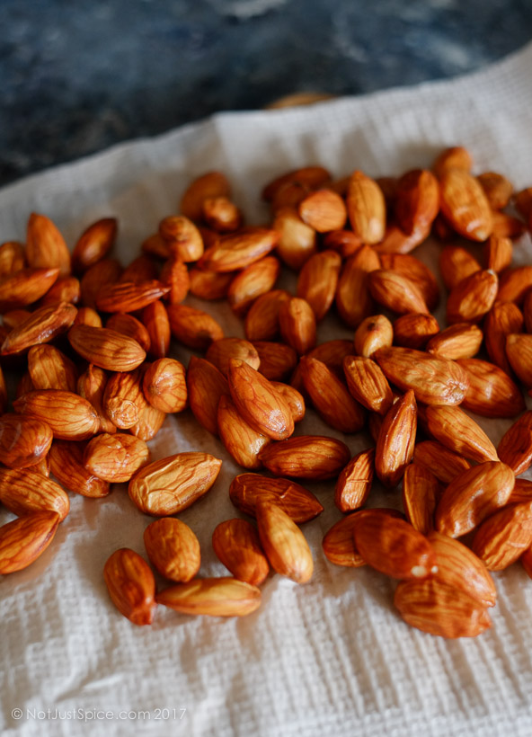 How To Blanch Almonds on notjustspice.com