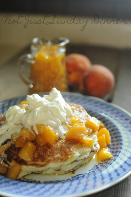 buttermilk pancakes with fresh peach syrup