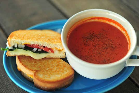 ultimate tomato soup with a grilled cheese sandwich