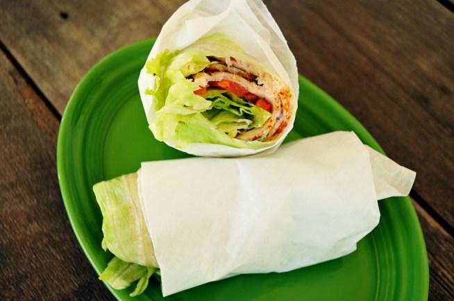 turkey-and-bacon-lettuce-wrap with basil mayonnaise