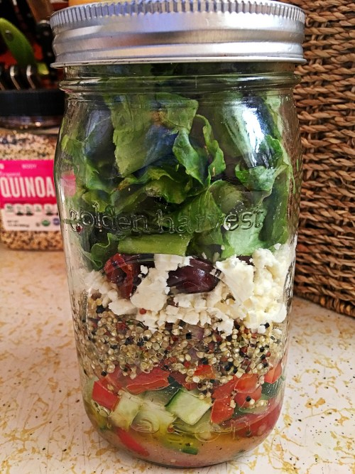 Greek Quinoa Layered Jar Salad