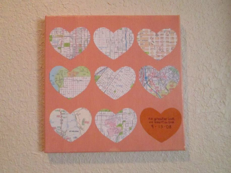 Follow Your Heart on 12x12 canvas - anniversary gift