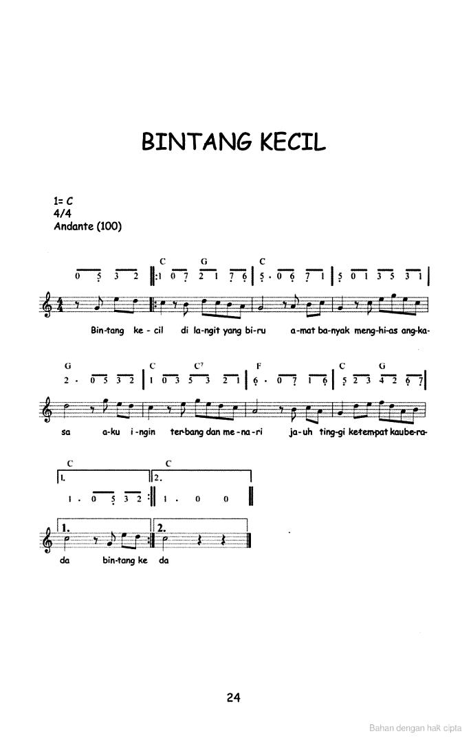 Lagu Anak Dan Notasinya : notasinya, Angka, Mudah