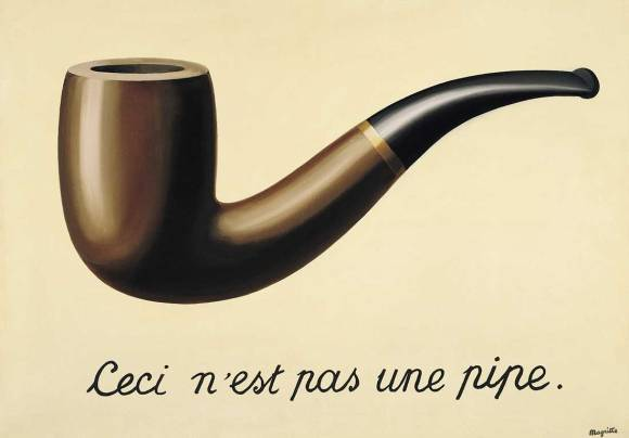 """Famous painting of a pipe with the text """"this is not a pipe"""" below it"""