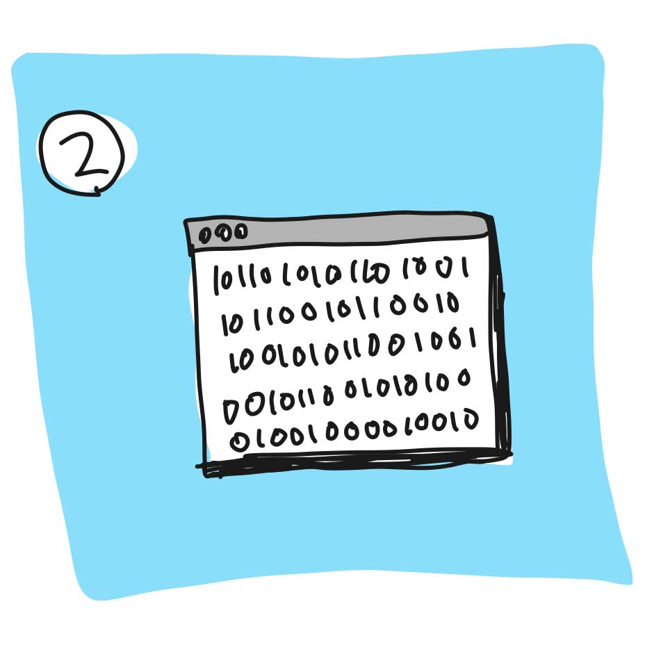 Drawing of a browser window filled with 1s and 0s