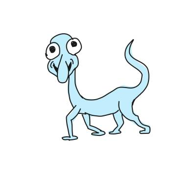 A light blue monster with four legs, a tail, crazy eyes and a long nose
