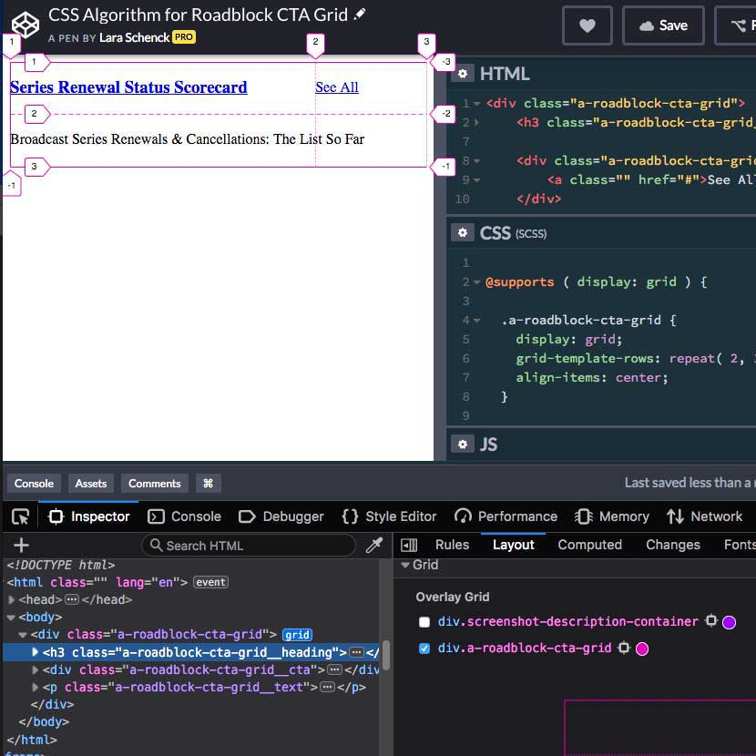 Using Firefox dev tools to inspect CSS Grid in a CodePen