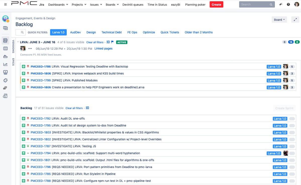 A screenshot of a JIRA backlog with stories filed under the Larva 1.0 epic
