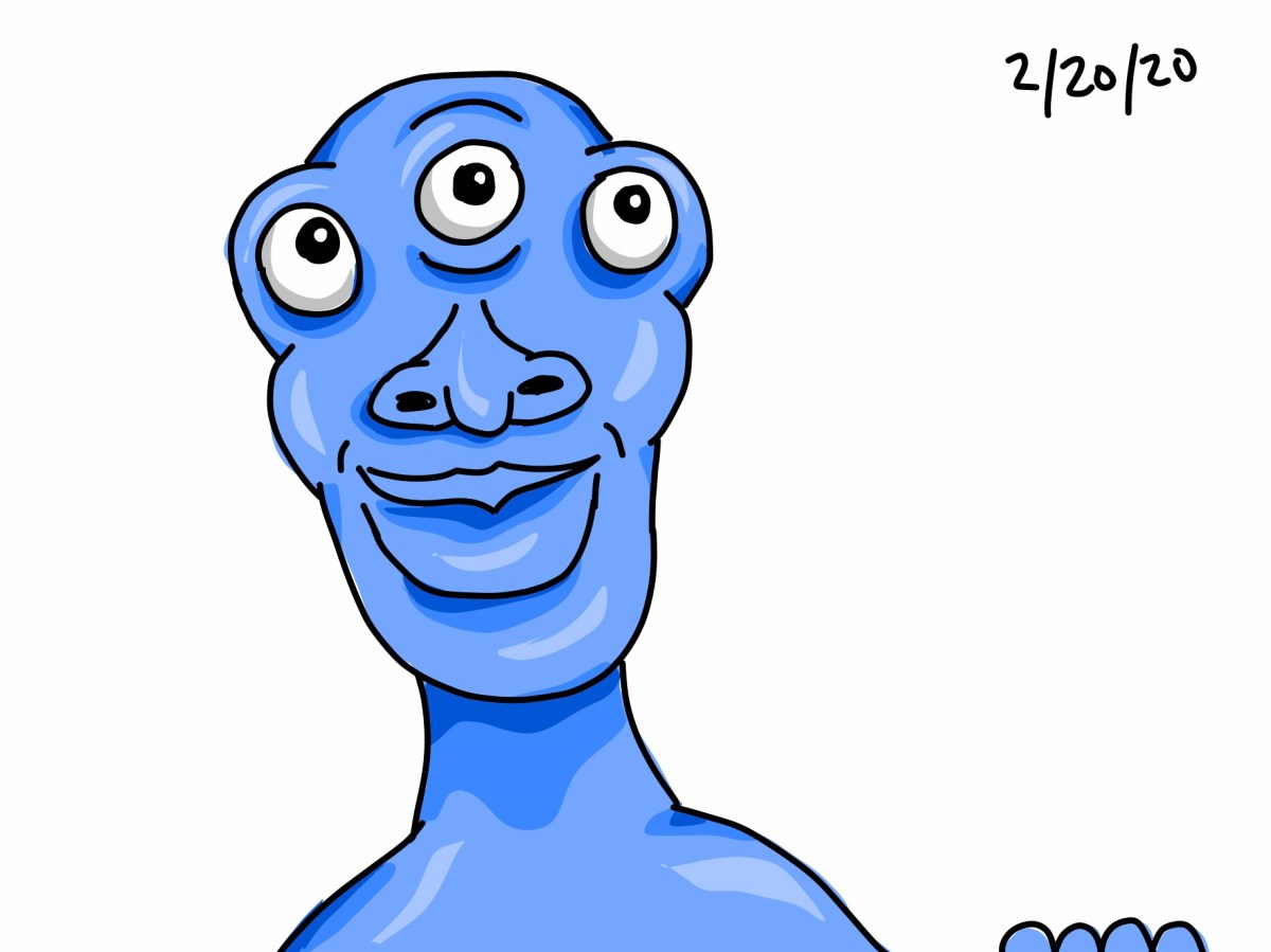 A blue, three-eyed monster peering above the bottom frame of the image with a curious expression