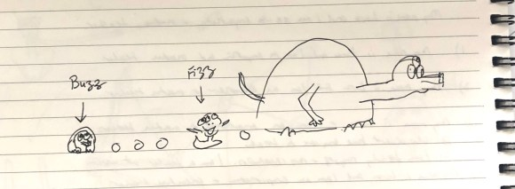 """A pen drawing on lined paper of a turtle-shaped monster moving across the page and """"pooping"""" out smaller monsters and small droppings, leaving them behind it"""