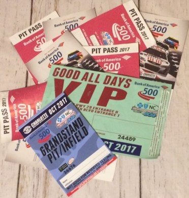 Tickets and passes from the Bank of America 500 NASCAR race held at Charlotte Motor Speedway in October 2017.