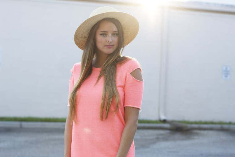 neon-cold-shoulder-dress