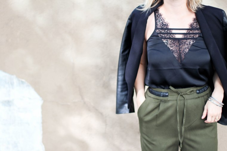 army_green_pants_black_lace_top_nnb