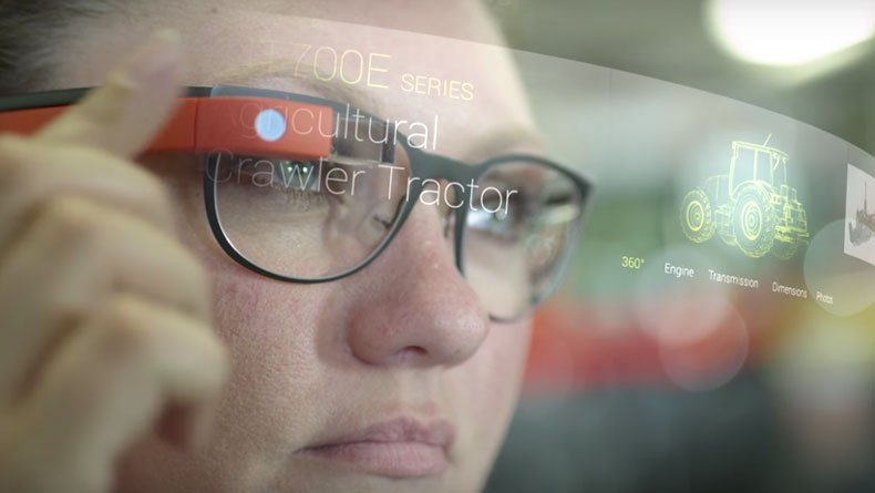 Woman working with Google Glass