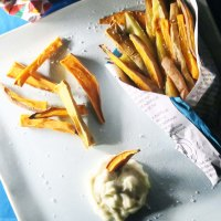 Easy Egg-Free Garlic Mayo with Sweet Potato & Yam Fries