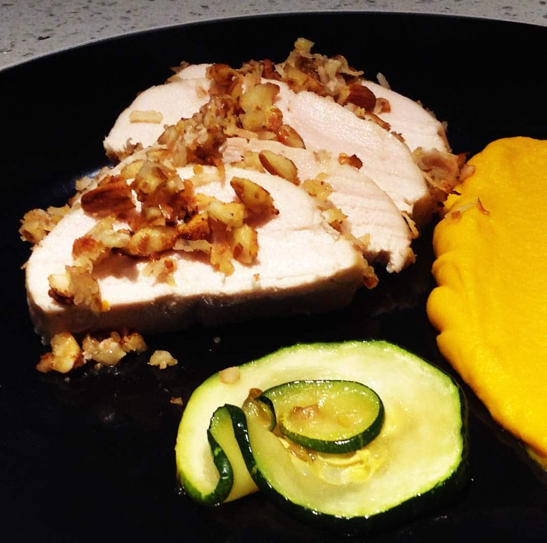 Almond, Coconut, and Miso-Crusted Chicken with Ginger Kabocha Squash Puree