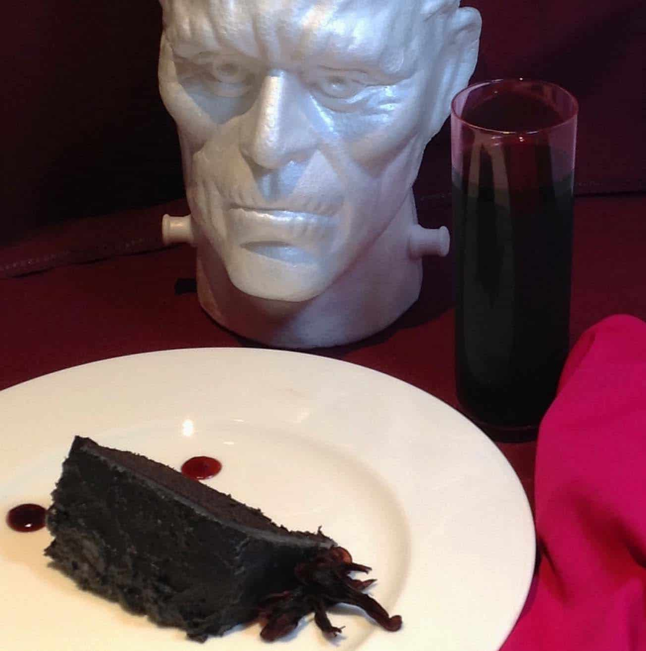 Halloween: Charcoal Black Devil's Food Cake with Sour Cherry Hibiscus 'Blood'