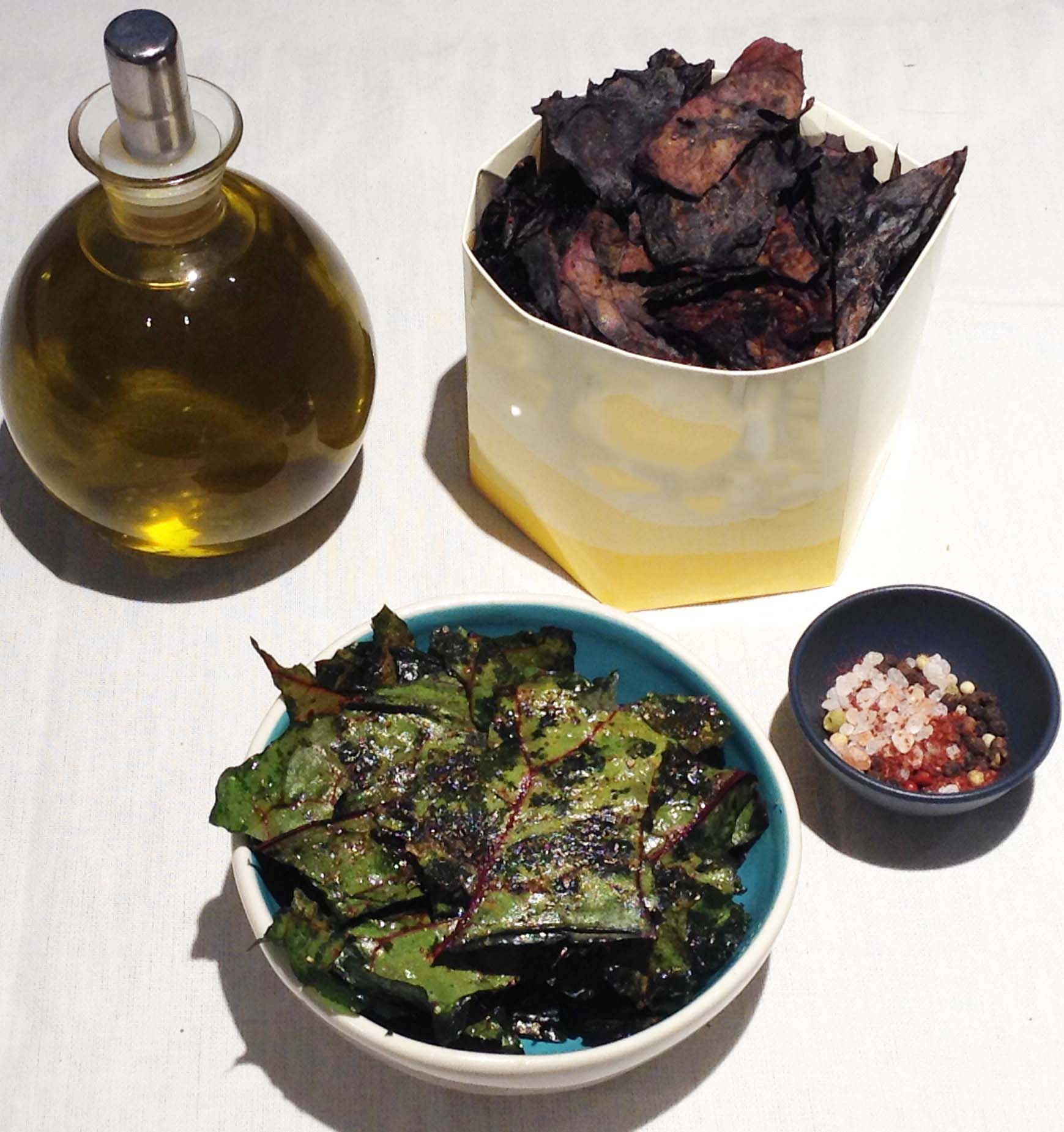 Red and Green Chard Chips with Sea Salt, Pepper, and Sumac