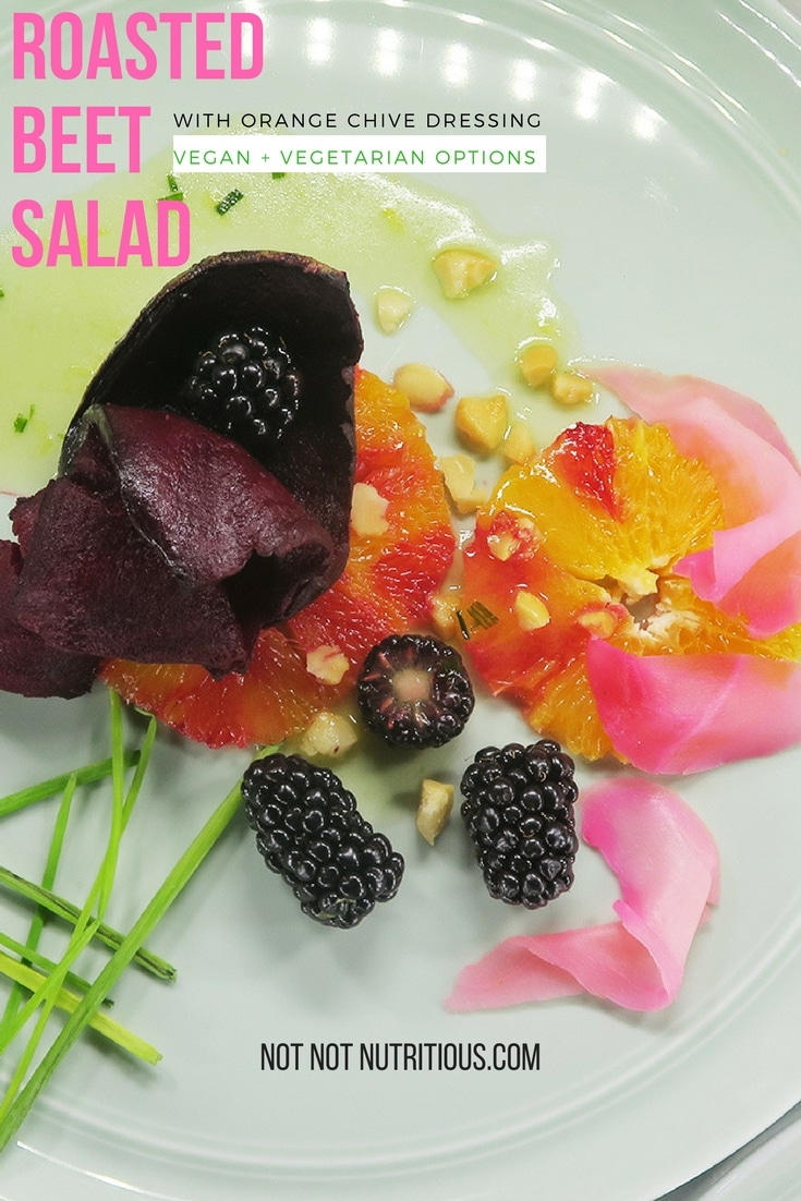 Roasted Beet Salad with Oranges, Pickled Ginger and Macadamia Nuts, and Orange Chive Dressing