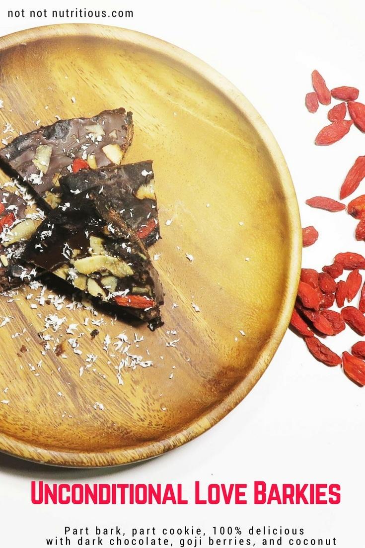 Unconditional Love Barkies made with dark chocolate, goji berries, and coconut