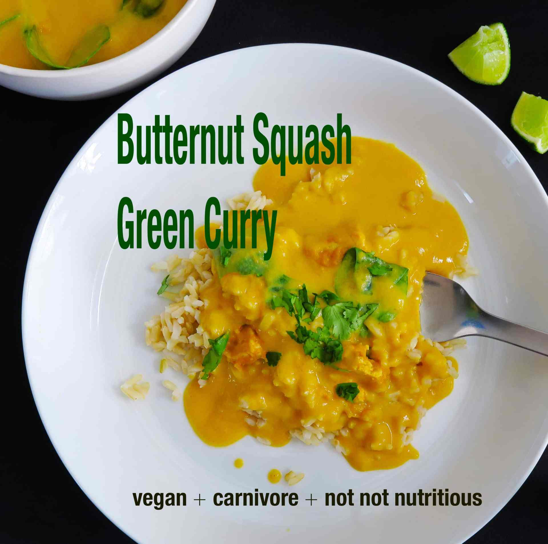 Butternut Squash Green Curry – Vegan and Omnivore Options