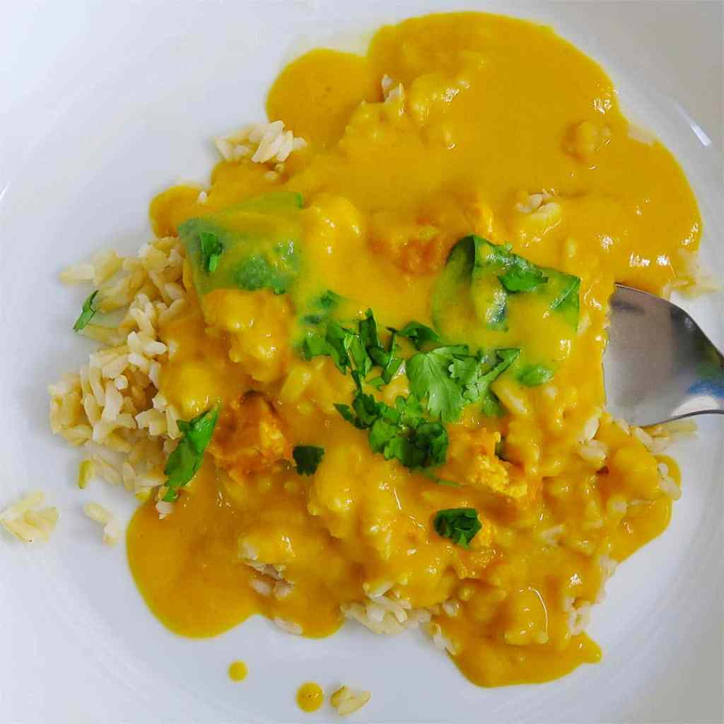 Butternut Squash Green Curry in white bowl with fork