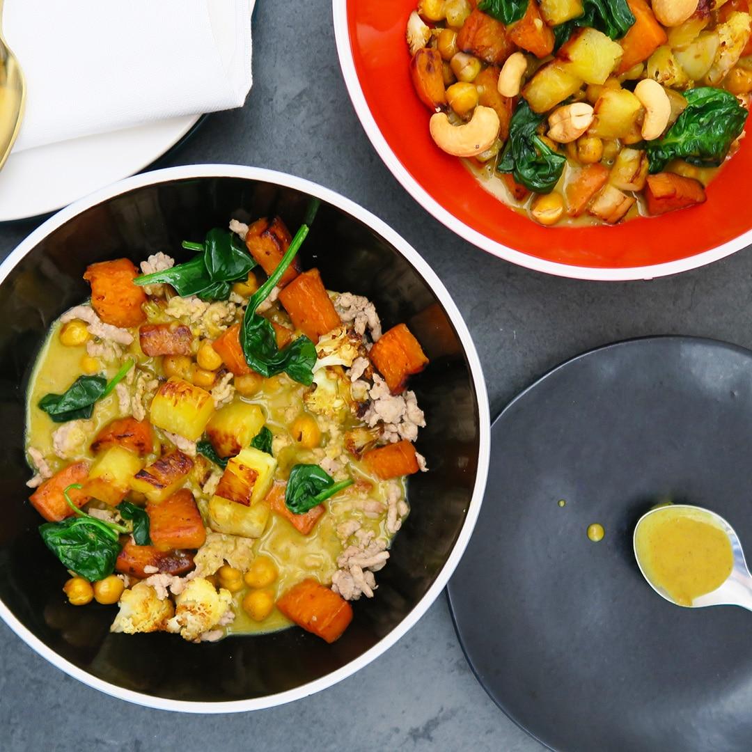 Roasted Veggies with Curry Cream Sauce – Vegan, Vegetarian, and Omnivore Options
