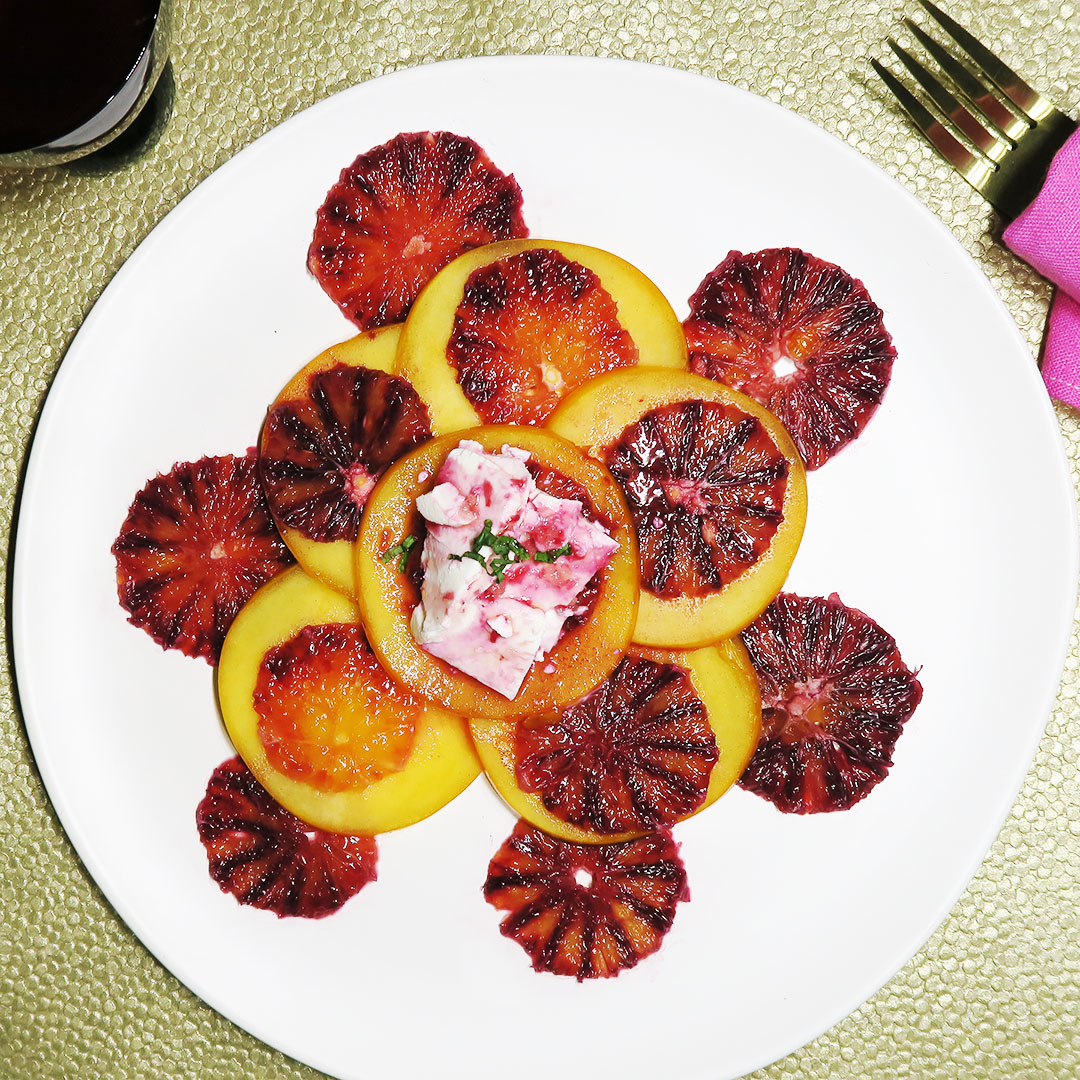 Blood Orange Breakfast Salad recipe, vegan and vegetarian versions.
