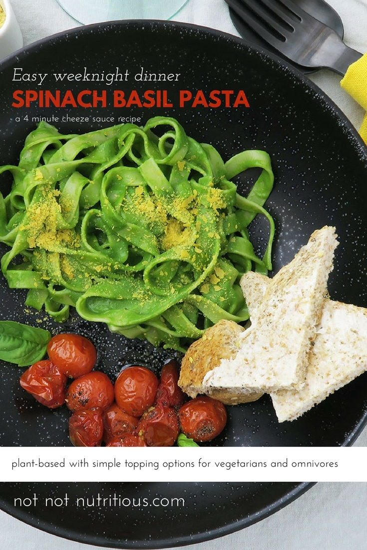 Spinach Basil Pasta is an easy plant-based pasta recipe with super simple topping options for vegetarians (parmesan), and omnivores (prosciutto).