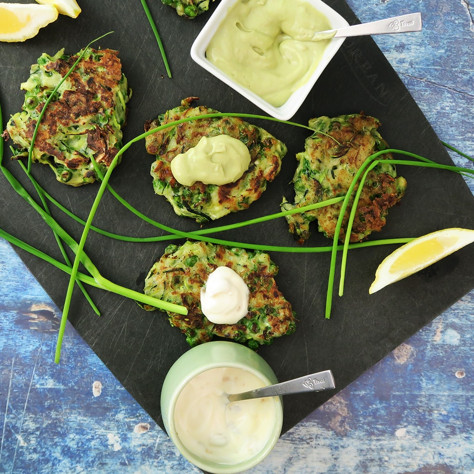 Zucchini and Green Pea Fritters