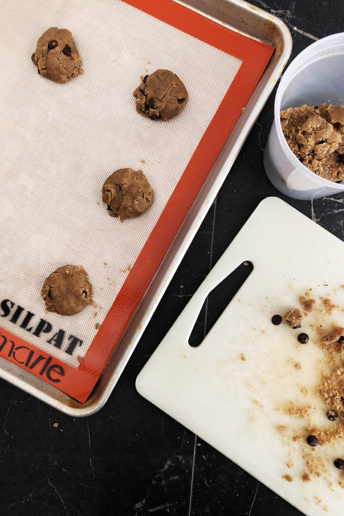 When you're ready to bake the cookies, roll them into balls. Flatten them slightly. Bake at 350F for 10 minutes.
