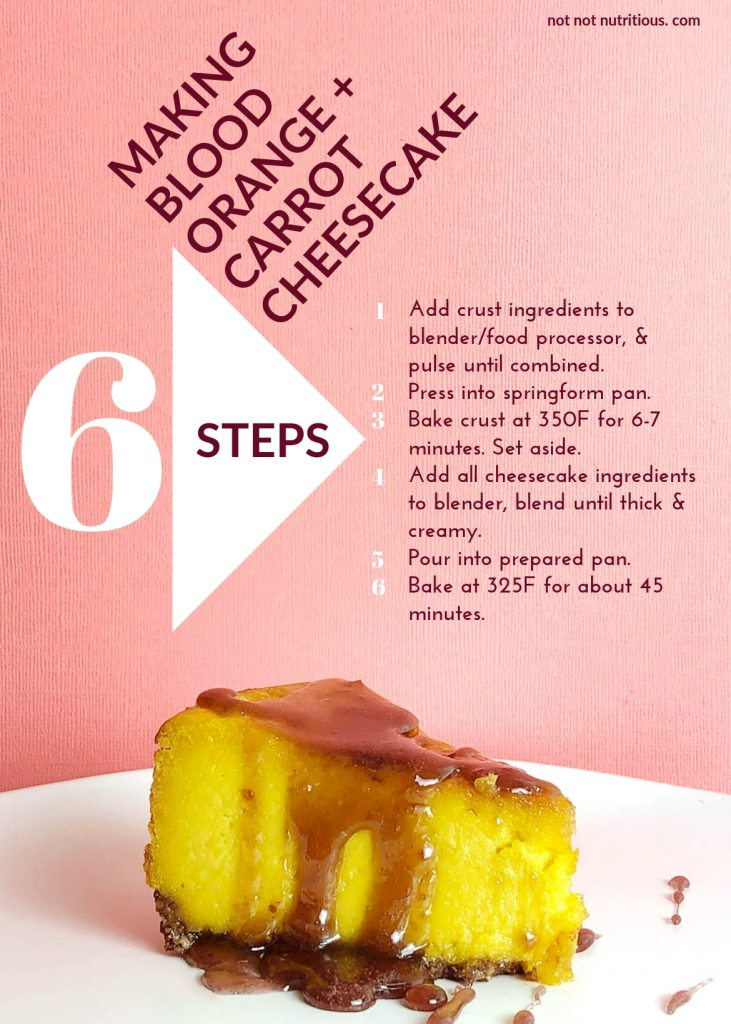A graphic showing the 6 steps for making Blood Orange and Carrot Cheesecake (Vegan). Step 1: Add crust ingredients to blender/food processor and pulse until combine. Step 2: Press into springform pan. Step 3: Bake crust at 350F for 6-7 minutes and set aside. Step 4: Add all cheesecake ingredients to blender, blend until thick and creamy. Step 5: Pour into prepared pan. Step 6: Bake at 323F for about 45 minutes.