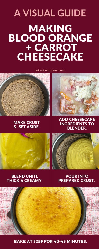 A visual guide for making  Blood Orange and Carrot Cheesecake (Vegan). First image shows a prepared crust and reads: Make crust and set aside. Second image shows all of the ingredients in the blender with the text: Add cheesecake ingredients to the blender. The third image shows the blended ingredients and reads: Blend until thick and creamy. The fourth image shows the cheesecake mixture being poured into the prepared crust and the text read: Pour into prepared crust. The final image shows the baked cheesecake and reads bake at 325F for 40-45 minutes.