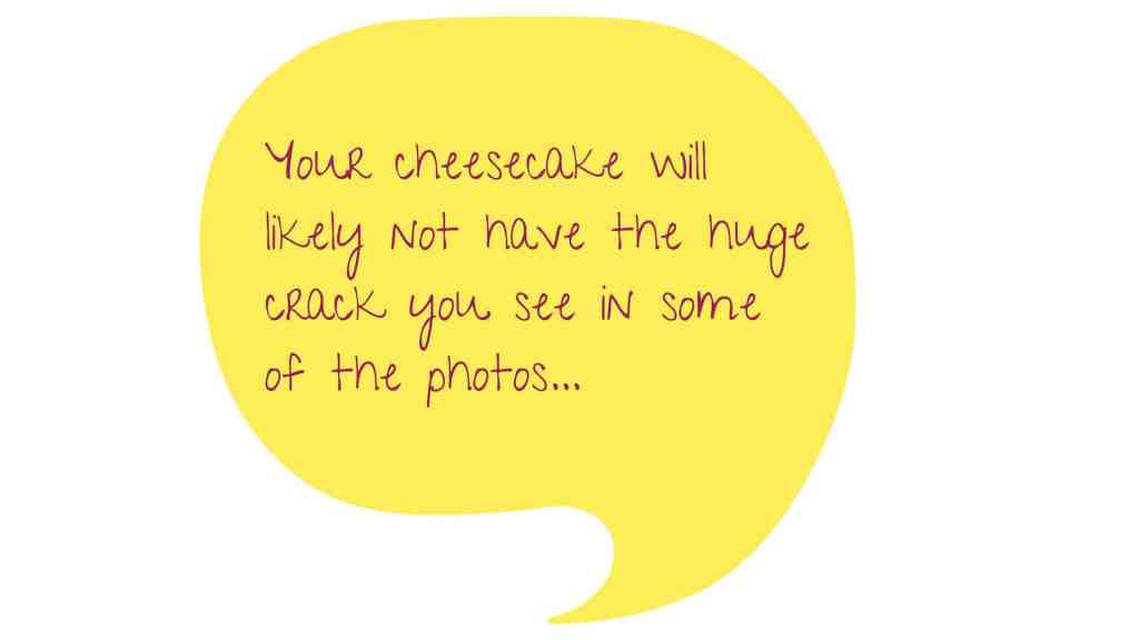Yellow image of a conversation bubble with text: Your cheesecake will likely not have the same huge crack you see in some photos...