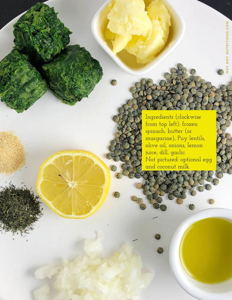 Top-down photo of ingredients for Lentil, Lemon, and Dill Soup on a white plate. From top left: frozen spinach, butter, Puy lentils, olive oil, diced onion, dried dill, dried garlic, and lemon.