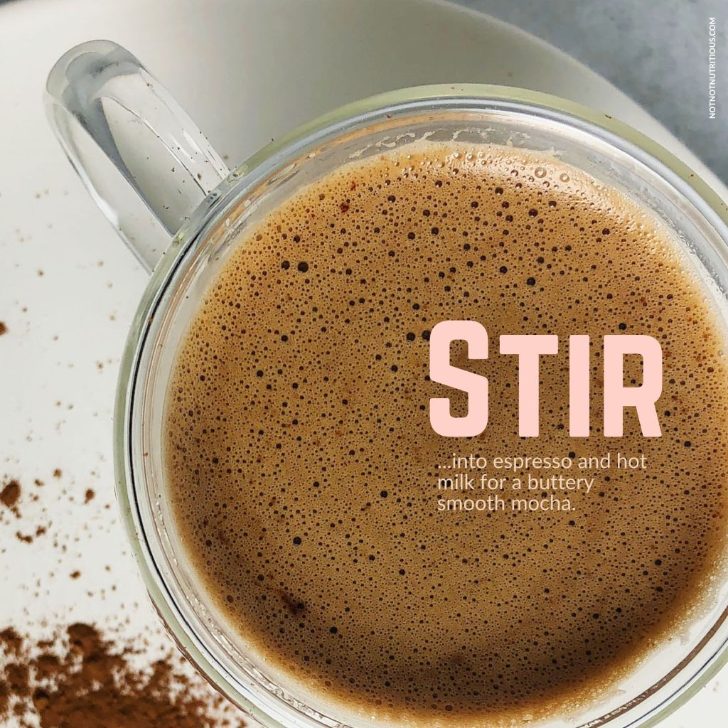 Infographic showing a mocha made with brown butter chocolate sauce. Text overlay reads: Stir into espresso and hot milk to make a buttery smooth mocha.