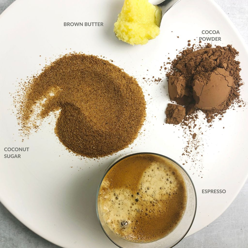 Infographic with ingredients for Brown Butter Chocolate Syrup. Clockwise from top:  brown butter, cocoa powder, espresso, and coconut sugar