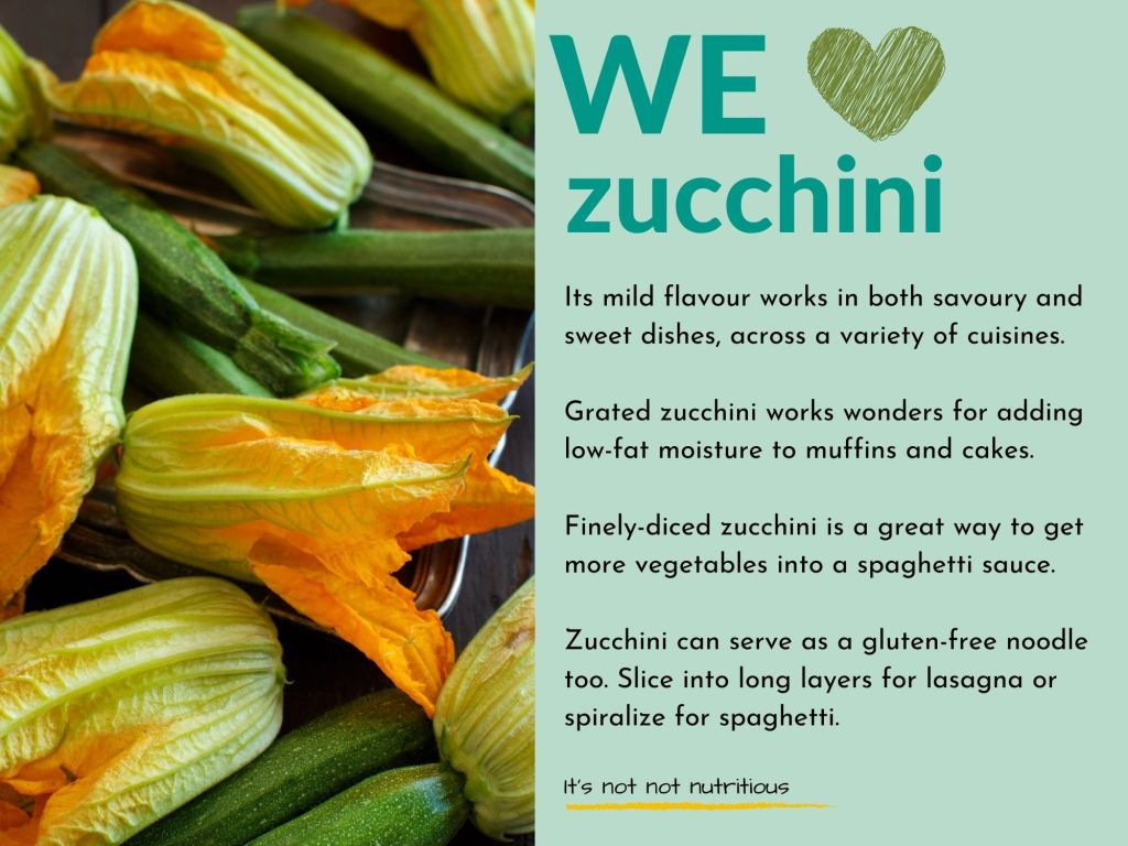 "Infographic: We ""heart"" zucchini. Its mild flavour works in both savoury and sweet dishes, across a variety of cuisines. Grated zucchini works wonders for adding low-fat moisture to muffins and cakes. It's not not nutritious."