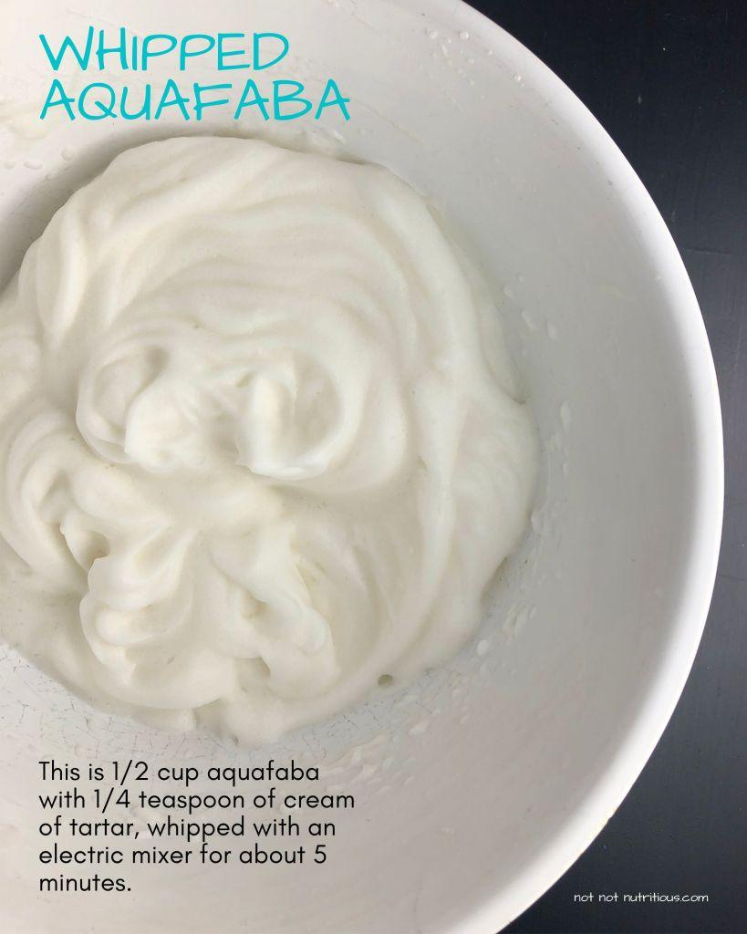 Infographic titled Whipped Aquafaba. Image shows a top-down view of a white bowl with whipped aquafaba, which looks very similar to whipped egg whites. Text on images reads: This is 1/2 cup of aquafaba with 1/4 teaspoon of cream of tartar, whipped with an electric mixer for about 5 minutes.