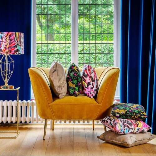 Vibrant luxury cushions and lampshades