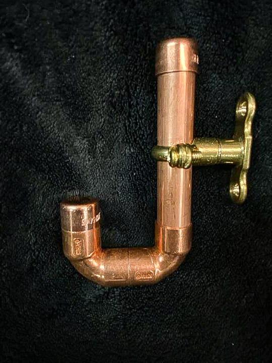 Homemade copper coat hook