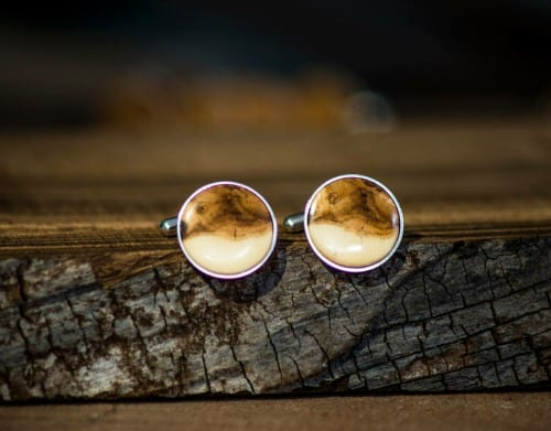 Sterling silver cufflinks set with holly